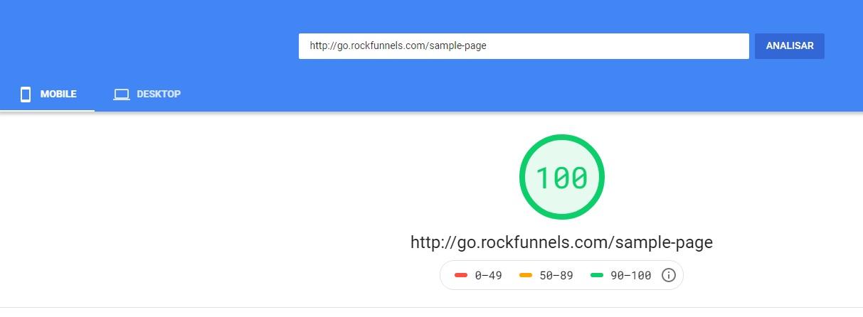 RockFunnels Velocidade das páginas