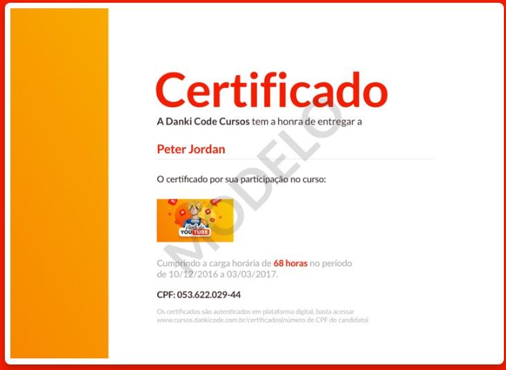 Certificado Curso Viver De Youtube Peter