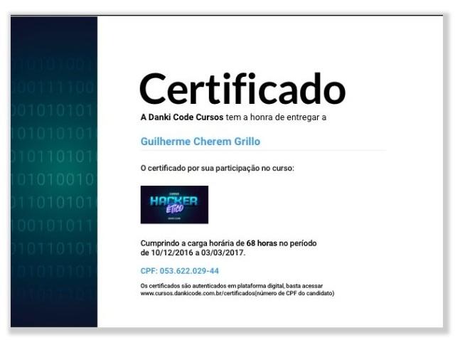 Certificado Curso Hacker Ético Danki Code